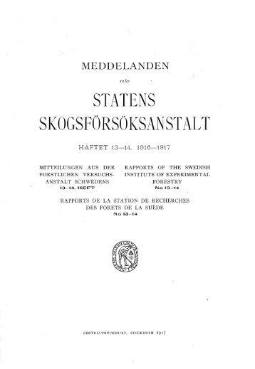 STATENS SKOGSFORSOKSANSTALT - SLU