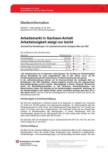 Presseinformation mit Karte Sachsen-Anhalt [Dezember 2013]