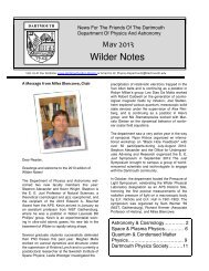 Spring 2013 Newsletter - Dartmouth College