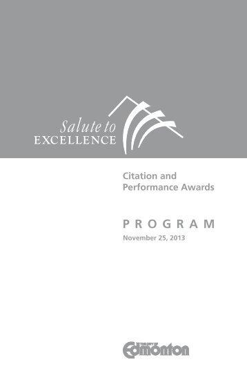 2013 Award Recipients and Program - City of Edmonton