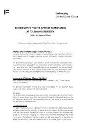 requirements for the aptitude examination at folkwang university