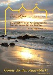Gemeindebrief DaLaQui Juni bis September 2013 - Evangelisch im ...