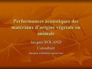Performances acoustiques des matériaux d'origine végétale…