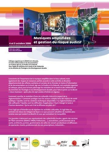 Musiques amplifiées et gestion du risque auditif - Centre d ...