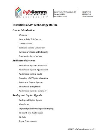 Essentials of AV Technology Online (PDF) - InfoComm