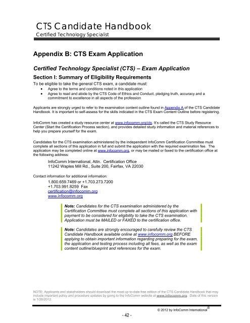 the CTS certification exam [PDF] - iatse