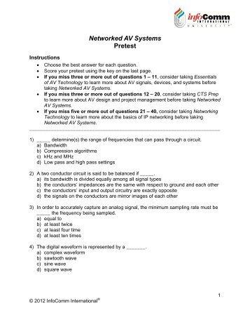 Networked AV Systems Pretest (PDF) - InfoComm