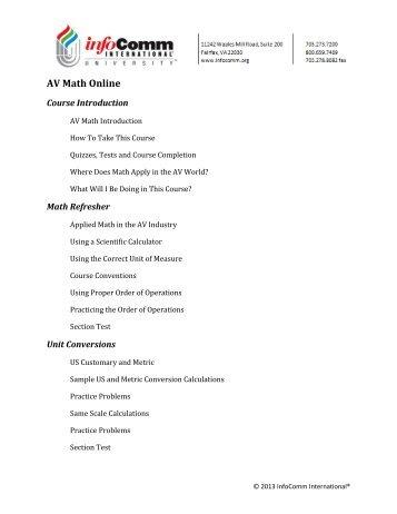 AV Math Online - InfoComm