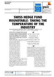 SWISS HEDGE FUND ROUNDTABLE: TAKING THE ... - PwC