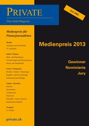 Medienpreis Sonderheft 2013 - Private Magazin