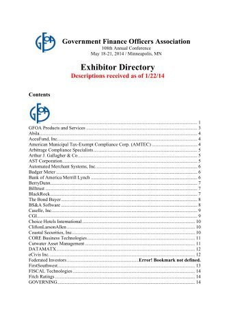 Exhibitor Directory - Government Finance Officers Association