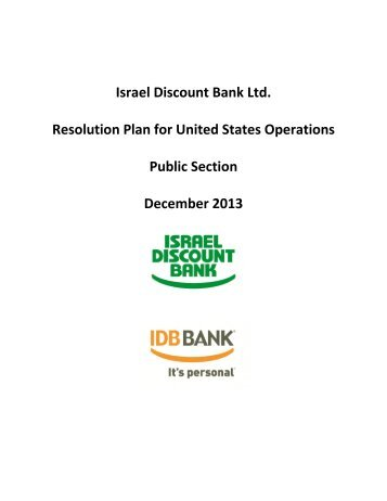 Israel Discount Bank Ltd. Resolution Plan for United States ... - FDIC