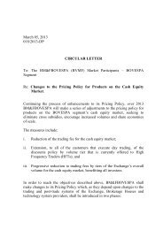 Circular Letter – Changes to the Pricing Policy for ... - BM&FBovespa;