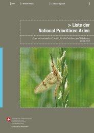 Liste der National Prioritären Arten - BAFU - CH