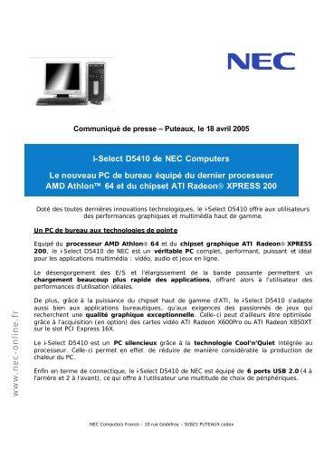 i-Select D5410 de NEC Computers Le nouveau PC ... - infohightech