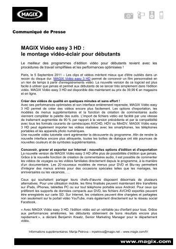 MAGIX Vidéo easy 3 HD : le montage vidéo-éclair ... - infohightech