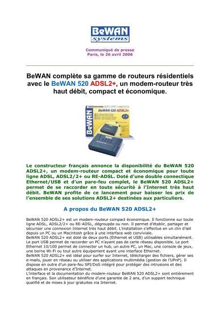 Bewan 820VG ADSL2+ Driver for PC