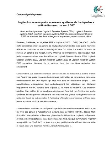 Logitech annonce quatre nouveaux systèmes de haut ... - infohightech