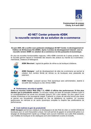 4D NET Center présente 4DBK la nouvelle version de ... - infohightech