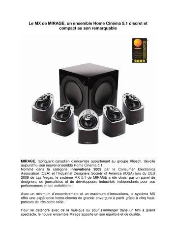 Le MX de MIRAGE, un ensemble Home Cinéma 5.1 ... - infohightech
