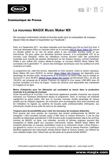 Le nouveau MAGIX Music Maker MX - infohightech