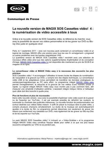 La nouvelle version de MAGIX SOS Cassettes vidéo! 4 - infohightech