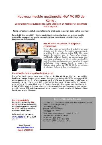 Nouveau meuble multimédia HAV MC100 de König : - infohightech