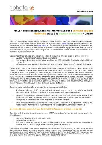 MACSF dope son nouveau site Internet avec une ... - infohightech