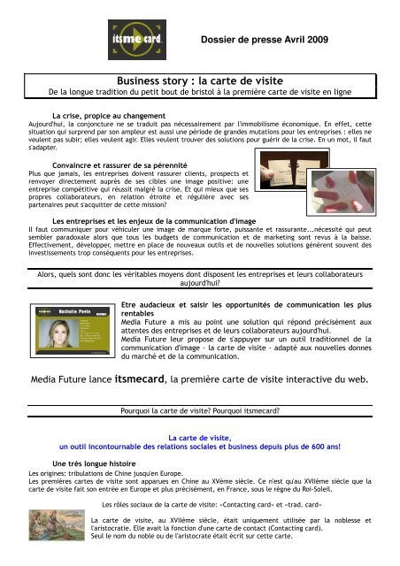 Business Story La Carte De Visite