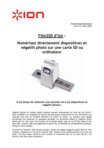 Film2SD d'Ion : Numérisez directement diapositives et ... - infohightech