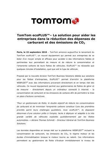 TomTom ecoPLUS™– La solution pour aider les ... - infohightech
