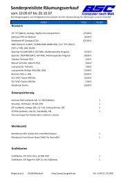 Sonderpreisliste Räumungsverkauf - BSC Computer GmbH