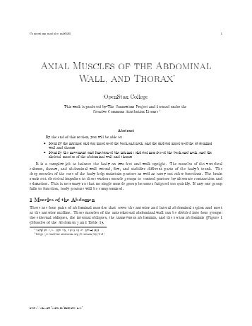 Axial Muscles of the Abdominal Wall, and Thorax∗ - Connexions