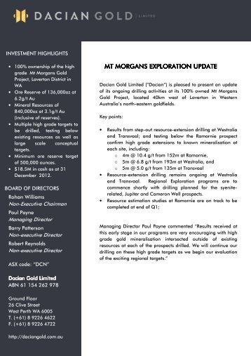5 March 2013 - ASX Release Mt Morgans Exploration ... - Dacian Gold