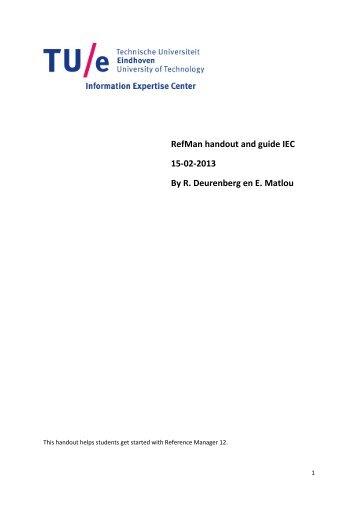 RefMan handout and guide IEC 15-02-2013 By R. Deurenberg en E ...