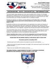 ARENABOWL XXVI CREDENTIAL INFORMATION
