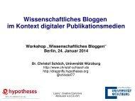 Wissenschaftliches Bloggen im Kontext digitaler ... - Hypotheses