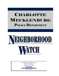 NEIGHBORHOOD WATCH - Charlotte-Mecklenburg County