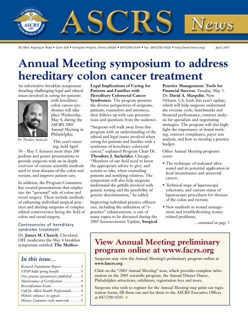 Annual Meeting Symposium To Address Hereditary Colon Cancer