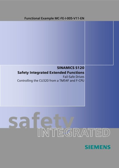 SINAMICS S120 Safety Integrated Extended Functions - Siemens ...