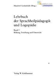 Lehrbuch der Sprachheilpädagogik und Logopädie - Dandelon.com