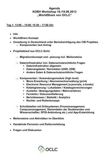 geht's zur Agenda von Tag 1 und 2 - OCLC