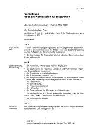 Verordnung über die Kommission für Integration - Thun
