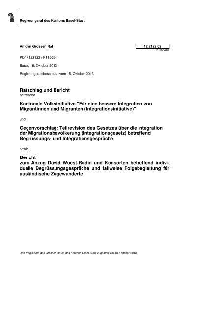 12.2122.02, Bericht des RR - Grosser Rat - Kanton Basel-Stadt