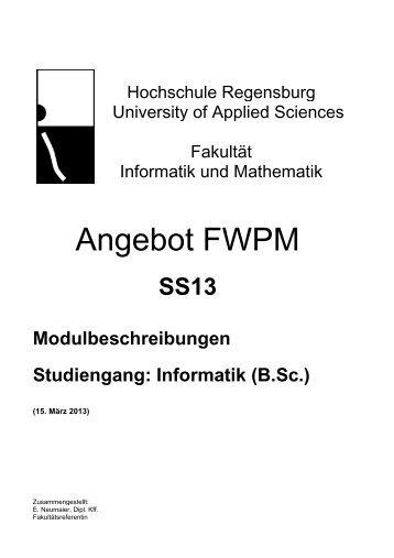 Angebot FWPM - Hochschule Regensburg