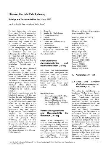 Literaturübersicht Fabrikplanung - TU Clausthal
