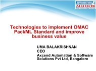 Technologies to implement OMAC PackML Standard and ... - AIA India