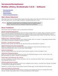 ePolicy Orchestrator 5.0.0 Versionsinformationen - McAfee