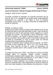 Comunicato stampa N° 1/2005 Parma, 10-02-05 Laurea ad - Casappa