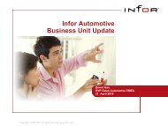 Automotive Industry Update / Infor Automotive Essentials